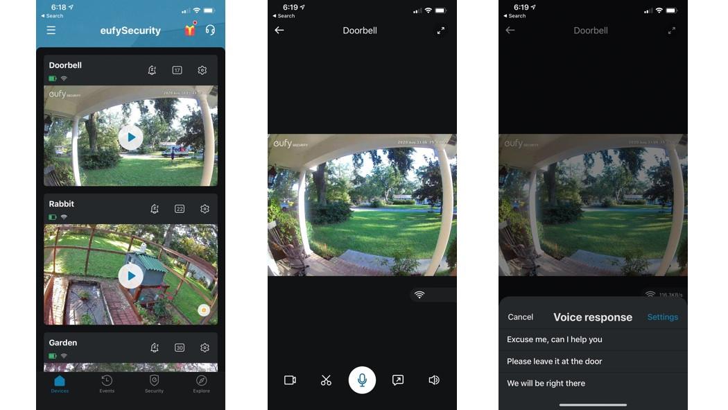 Revisión de Eufy Video Doorbell 2K - la aplicación