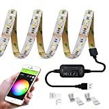 GIDERWEL Smart ZigBee USB Strip Light RGBWW Trabaja con Hue Bridge y Amazon Echo Plus para APP / Control de voz RGB + Blanco frío Blanco cálido Ambiente TV USB Light Strip 5V