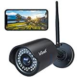 ieGeek Cámara de seguridad para exteriores 1080P Impermeable Seguridad para el hogar CCTV Vigilancia WiFi Cámara IP tipo bala para exteriores con visión nocturna de 25 m, detección de movimiento de visualización remota y alertas push para Android / iOS / PC
