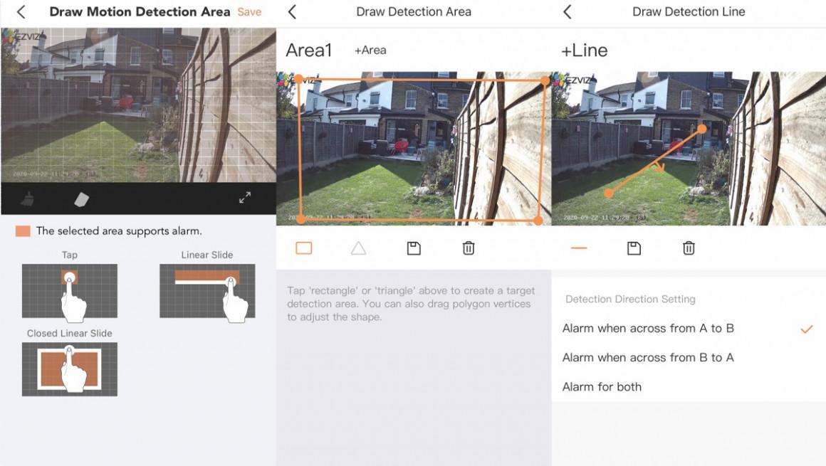Zonas de actividad de la cámara de seguridad inteligente Ezviz C3X