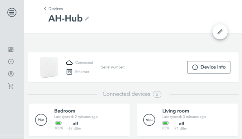 Airthings Hub - Panel del navegador