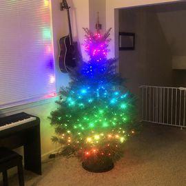 Colores del arco iris en un árbol de Navidad