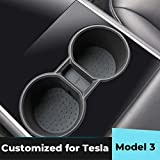 EVAUTO Tesla Model 3 Portavasos Insertar Consola central Portavasos de agua de silicona Portavasos Interior Tesla Accesorios-Negro