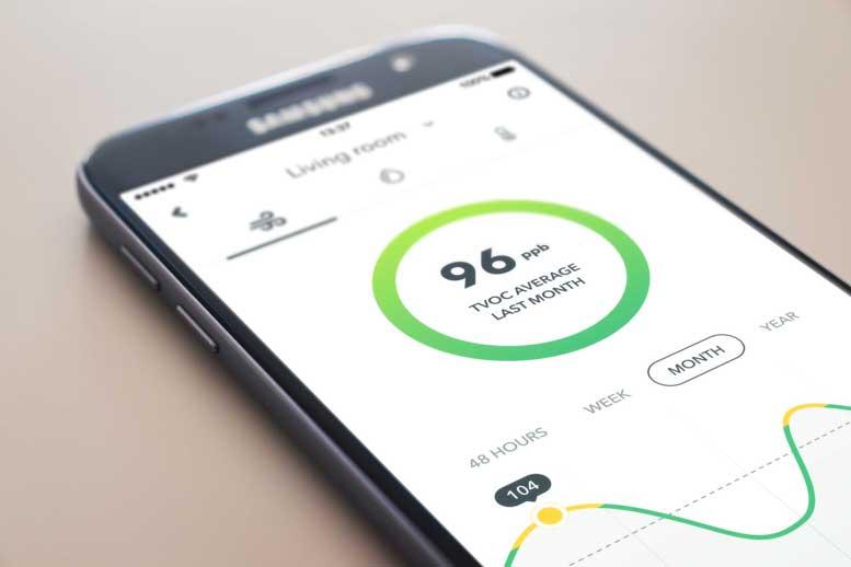 Aplicación de sensor de calidad del aire AirThings Wave Mini